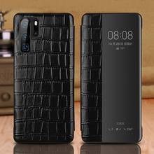 Echt Lederen Case Voor Huawei P30 Pro Case Wakeup Cover Window View Intelligente Etui Coque Voor Huawei P30 P30Pro Case capa