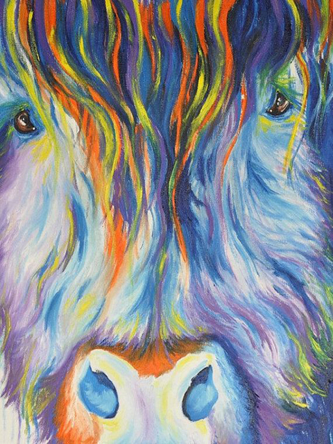2085838ef0e Old Skilled Artist Handpainted High Quality Abstract Colorful Cow Oil  Painting On Canvas Abstract Cow Painting For Decoration