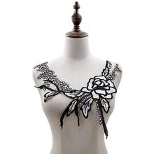 Exquisite White Rose Embroidery Lace Collar Evening Dress Appliques DIY Handicraft Sewing Trimmings And Embellishments