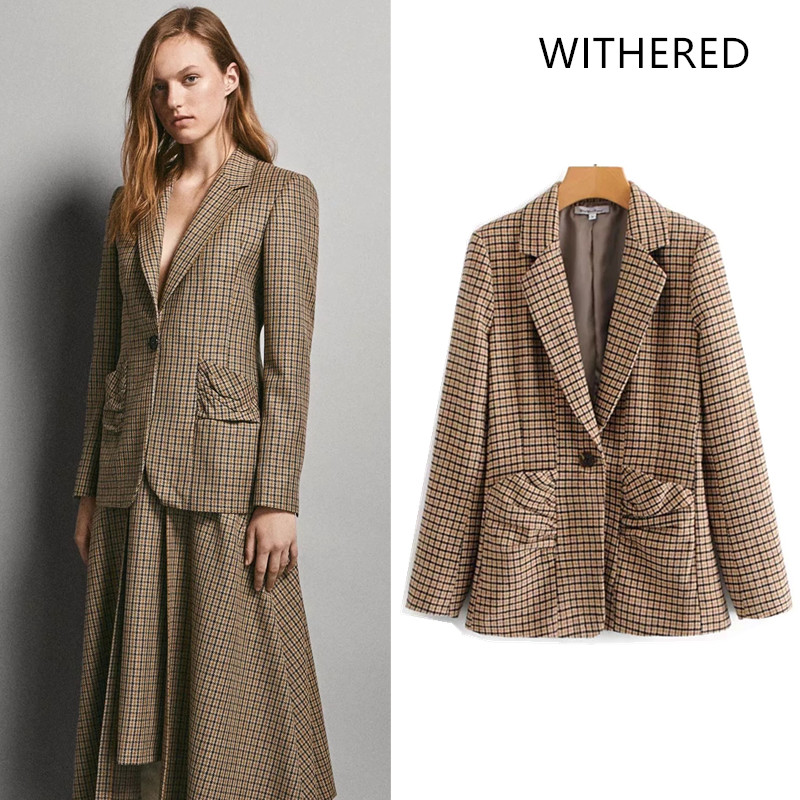 4e8d1974c96 Withered 2018 casaco feminino blazers england style houndstooth pleated  button women bomber blazers jacket plus size tops 0917-in Blazers from  Women s ...