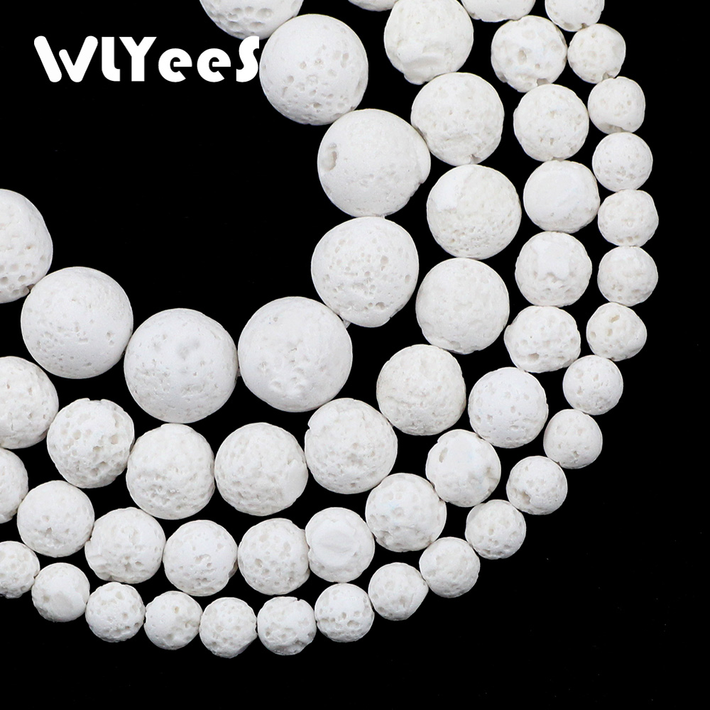 WLYeeS Hight Quality White Rock Lava Beads Natural Stone 6 <font><b>8</b></font> 10 12mm Round Loose Spacer Beads for Jewelry Bracelet Necklace DIY image