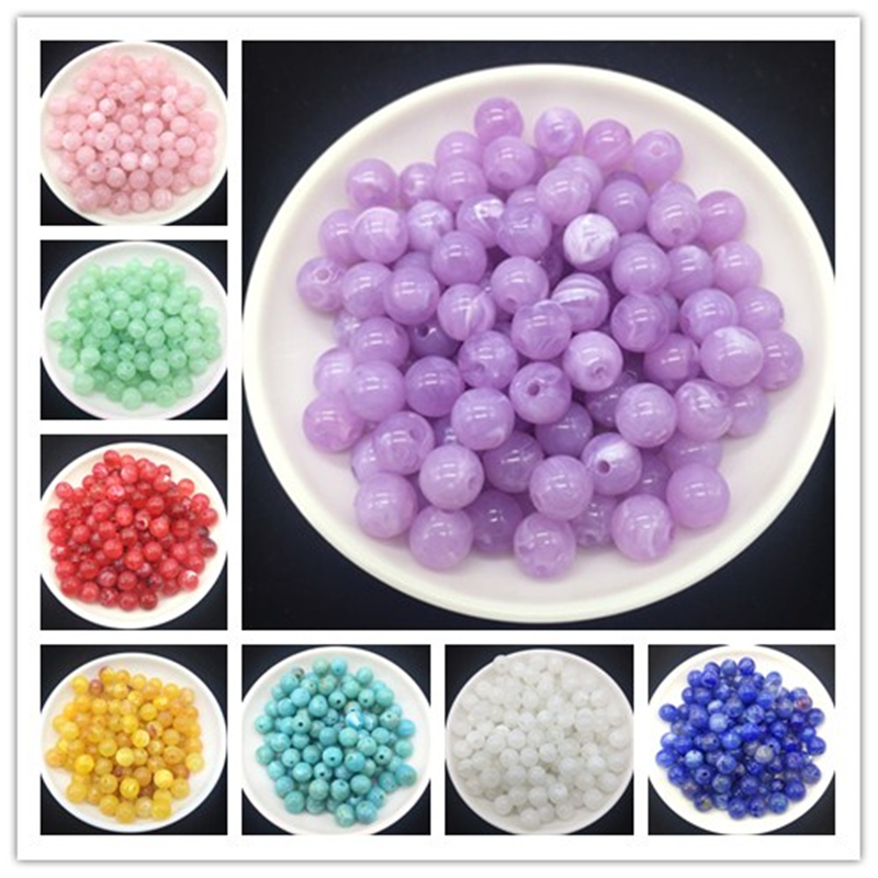 Wholesale 6 8 10 mm Acrylic Clouds Beads Effect Round BEADS Spacer Loose Beads Craft DIY(China)