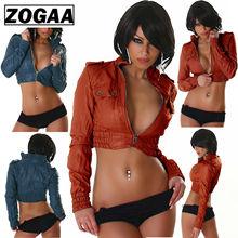 2019 Sexy Womens Leather Look Jacket Biker Cropped Ladies Coat Jackets For Women Boleor Size S-3XL