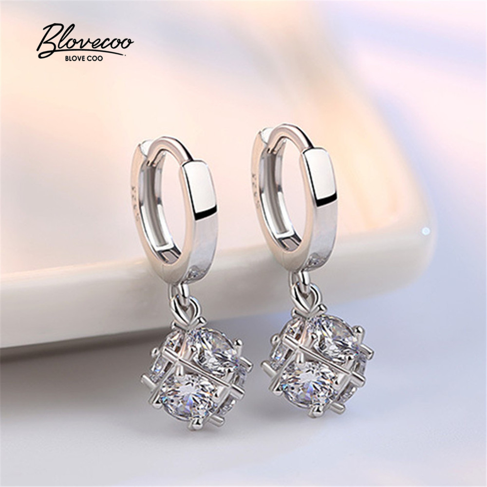 Brand Silver Drop Earrings Ladies Fashion jewelery Luxury zircon crystal pearl earring Womens Water Drops Earrings (One pair) ...