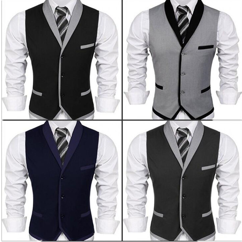 new Suit ma3 jia3 Men s V-neck Sleeveless Slim Vest Casual Business Suit Dress Wedding Waistcoat women s business suit dress