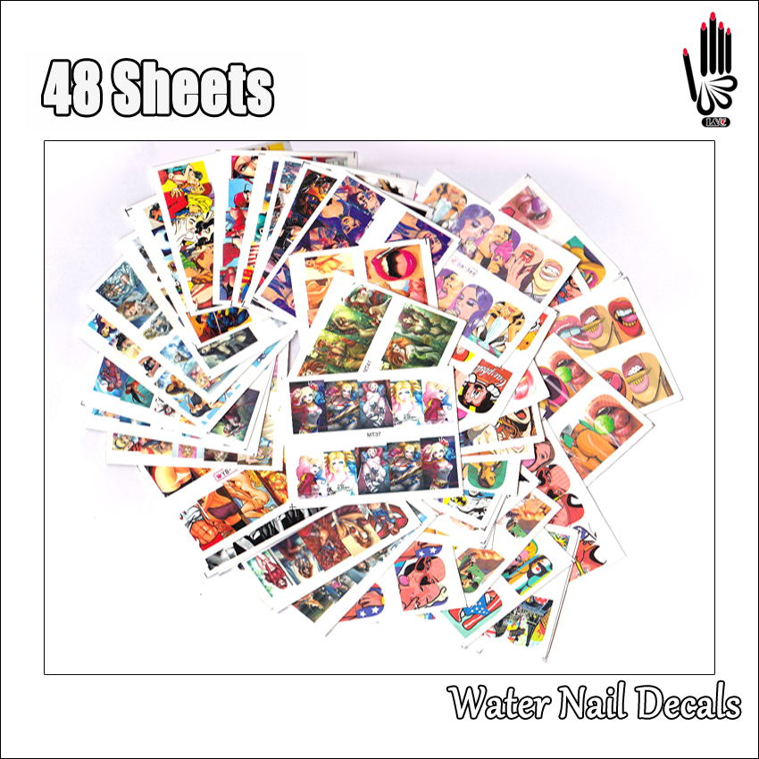 Nail 48Sheets/Lot Full Cover POP Art Cartoon Sexy Gril Water Nail Art Sticker Decal For Nail Art Decoration 48 Designs 48MT37