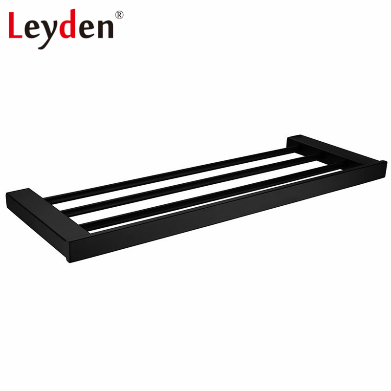 Leyden Bathroom Towel Rack Holder Wall Mounted Black Towel Rack Shelf Stainless Steel Modern Towel Rack Bathroom Accessories leyden high quality stainless steel towel rack bathroom polished chrome towel bar wall mounted towel holder bathroom accessories