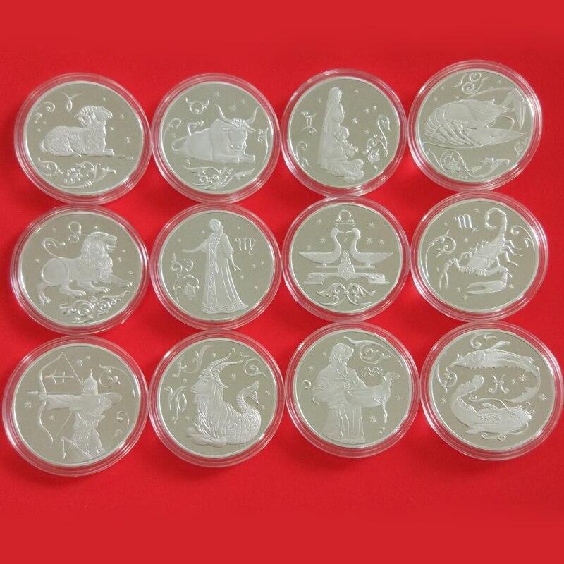 Exquisite 12Pcs/ Set Constellations Silver Commemorative Russia Coins Souvenir Metal Craft CoinsExquisite 12Pcs/ Set Constellations Silver Commemorative Russia Coins Souvenir Metal Craft Coins
