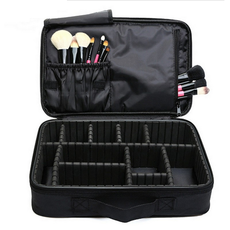 High Quality Professional Makeup Organizer Waterproof Oxford  Cosmetic Case Large Capacity Storage Bag Disassembly Suitcases hhyukimi professional makeup organizer large capacity three layers oxford cosmetic case bag high quality disassembly suitcase