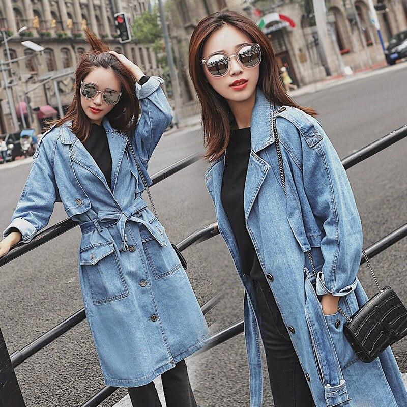 Fashion Long Denim Trench Coat Women Casual Spliced Single Breasted Windbreaker Elegant Pocket Overcoats Casacos Feminino Q393