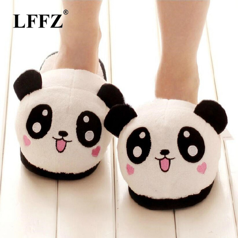 Lzzf Winter Indoor Panda House Slippers Flat Furry Home Cartoon Women Emoji Plush Fluffy Slippers Fur Animal Warm Non-slip Shoes cry emoji cartoon flock flat plush winter indoor slippers women adult unisex furry fluffy rihanna warm home slipper shoes house