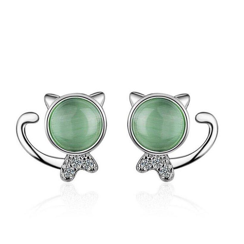 c3d3f3864 Child Fashion 925 Sterling Silver Green Opal Zirconia Cats Stud Earrings  For Baby Girls Women Cute Party Earring Jewelry ED516-in Stud Earrings from  Jewelry ...