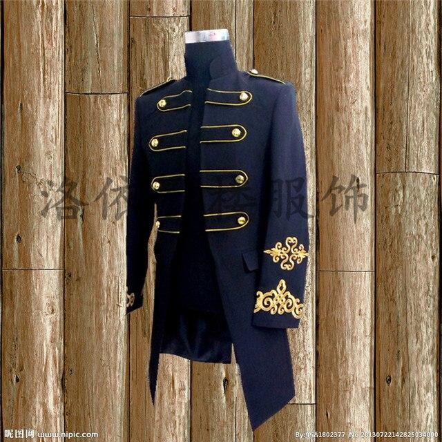 Бесплатная доставка мужская черный/белый золотой вышивка старинные средневековые смокинг случае/этап performacne/это только куртка
