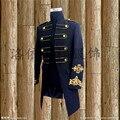 Envío libre para hombre negro/blanco chaqueta de esmoquin de oro bordado vintage medieval evento/etapa performacne/esto es sólo chaqueta