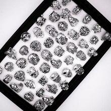 ฟรี 20pcs คุณภาพสูง Gothic Punk สารพันขายส่งจำนวนมาก Skull Bikers VINTAGE ทิเบตแหวน