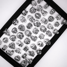Free Shipping Mixed 20pcs Top quality Gothic Punk Assorted Wholesale Lots Skull Style Bikers Mens Vintage Tibetan  Rings