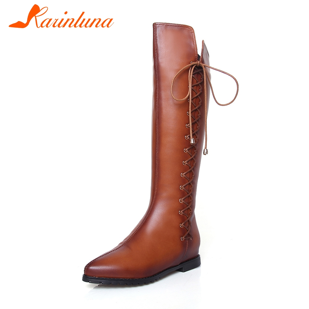 KARINLUNA 2018 Best Quality Large Sizes 33-43 Add Fur Autumn Winter Riding Boots Fashion women's Shoes Woman knee-high Boots цена