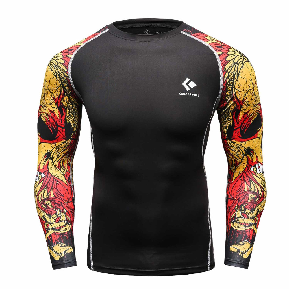 Men compression shirts mma rashguard keep fit fitness long for Compression tee shirts for men