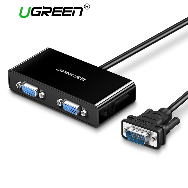 Ugreen 2 Ports VGA Switch Splitter 1920*1440 VGA Male to Two Female Splitter Cable for Laptop Projector HDTV VGA Splitter pair of chic faux ruby and flower embellished earrings for women