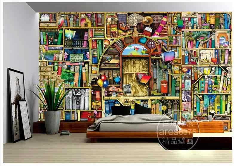 Hoge Kwaliteit Hot Koop Nieuwe Custom Hand getekende cartoon boekenkast boekenplank sprookje kinderen kamer achtergrond muurschilderingen behang