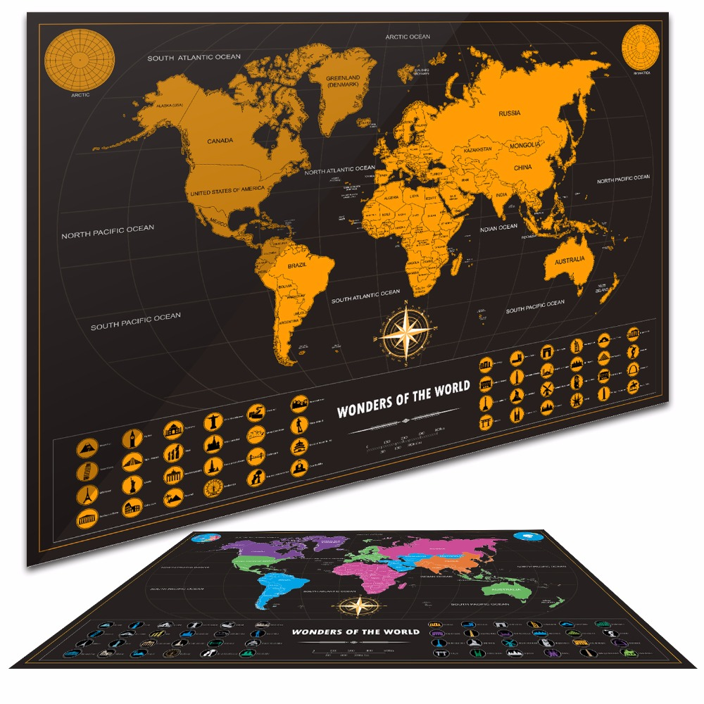 Hot sale black gold easy foil layer coating poster travel world hot sale black gold easy foil layer coating poster travel world maps personalized world map home wall decor adventure 50x72cm in wall stickers from home gumiabroncs Choice Image