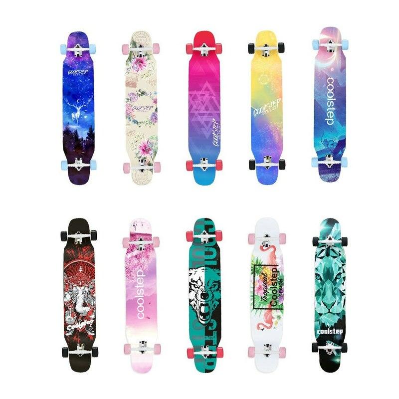 1 pc 2019 nuevo 117*25 cm tabla larga Skateboard 7 pulgadas camión 70*51mm 78A ruedas tabla de baile de 46 pulgadas Longboard para niñas