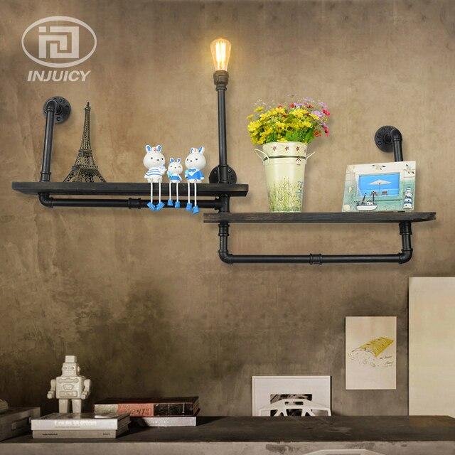 Boekenplank Met Verlichting.Vintage Industriele Waterleiding Ijzeren Wandlamp Houten Boekenplank