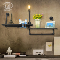 Vintage Industrial Water Pipe Iron Wall Lamp Wooden Bookshelf Wall Lighting Decoration Restaurant Cafe Bar Store Study Decor
