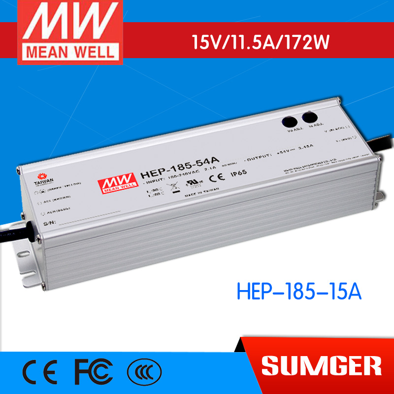 1MEAN WELL original HEP-185-15A 15V 11.5A meanwell HEP-185 15V 172W Single Output Switching Power Supply [freeshipping 1pcs] mean well original rs 25 15 15v 1 7a meanwell rs 25 25 5w single output switching power supply