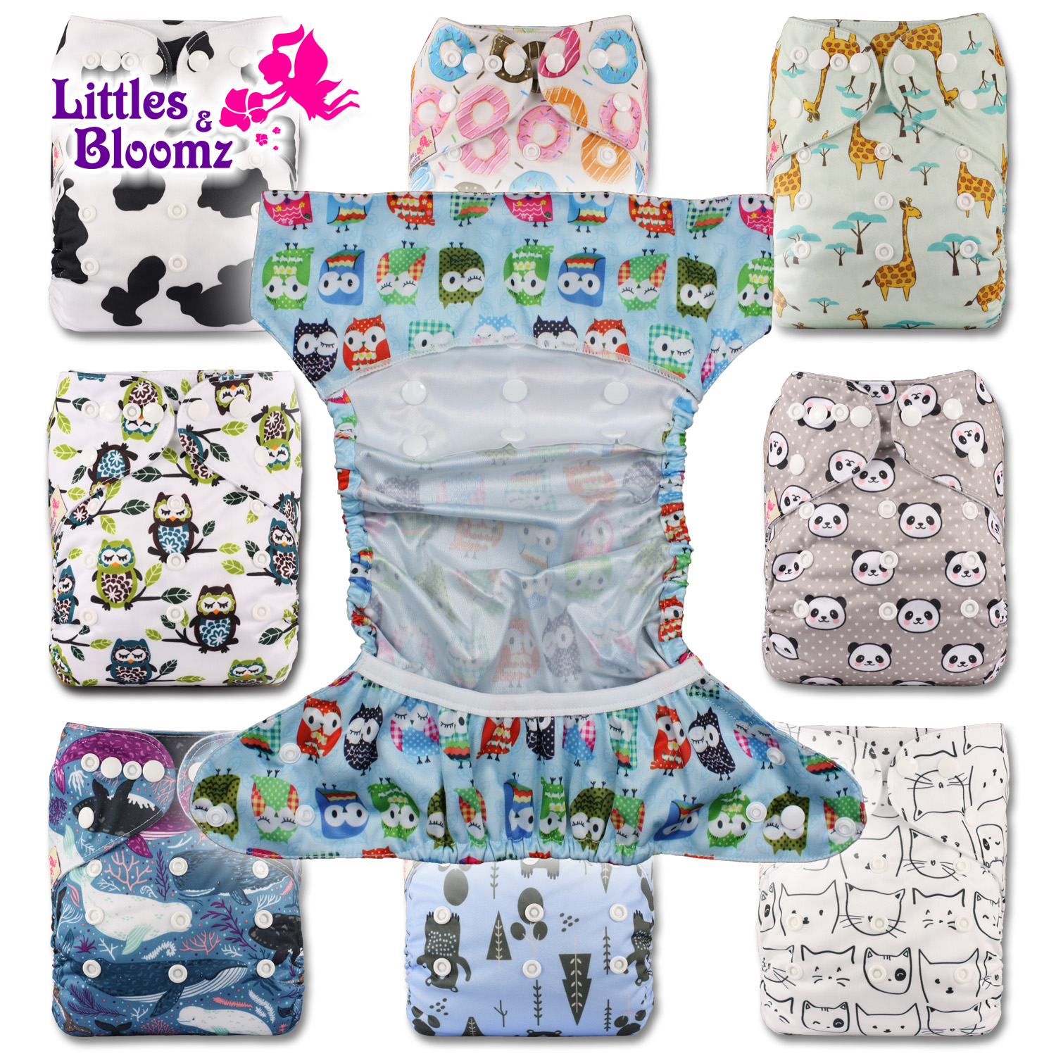 Reusable Pocket Real Cloth Nappy Washable Diaper Bamboo Charcoal Pattern 18 Littles /& Bloomz with 1 Charcoal Insert