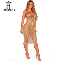 HAMBELELA Beach Sweater Dresses Women Sexy Sleeveless Scratched Vestido 2017 Summer New Lady Party Club Rose Gold Knitted Dress