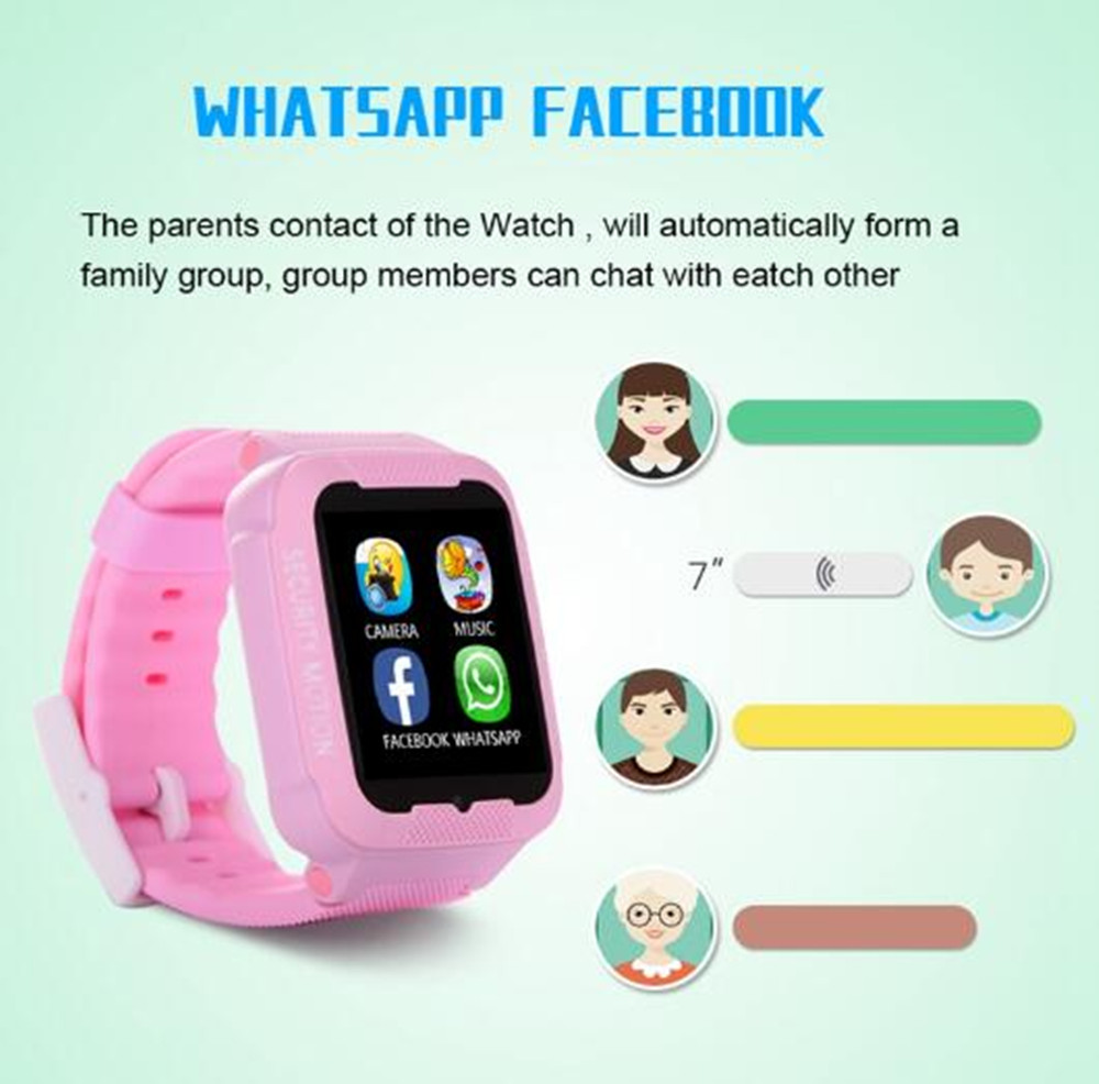 US $27 63 15% OFF|MKUYT K3 Kids GPS Phone Positioning Smart Watch with  Whatsapp Facebook Waterproof SOS Location Devicer Wristwatch PK Q90 Q80  Q50-in