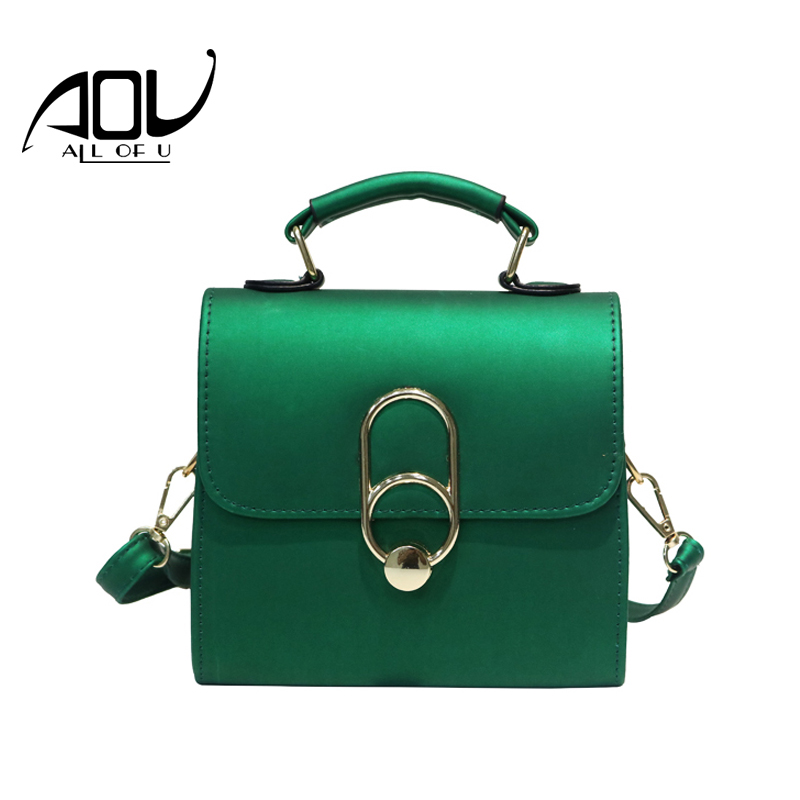 AOU New 2017 Women bag Fashion Small leather handbags Women Candy Color Messenger Bags Female Shoulder Crossbody Bag sac a main