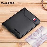 MartinPOLO, деловой мужской тонкий кошелек, Portomonee, мужской кошелек из натуральной кожи, классический дизайн, ультра тонкий кошелек из воловьей ко...