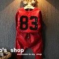 Девочек и мальчиков Спортивный костюм Блестками письмо с Длинными рукавами Пуловер свитер + шаровары 2 шт. костюм Весна 2-7ys дети Рождество подарок