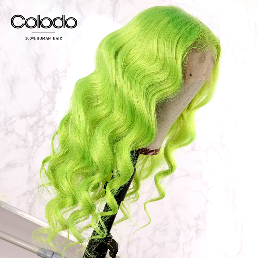 Colodo Green Human Hair Lace Front Wigs Pre Plucked With Babyhair Glueless Brazilian Deep Wave Lace Wigs For Women Remy Hair