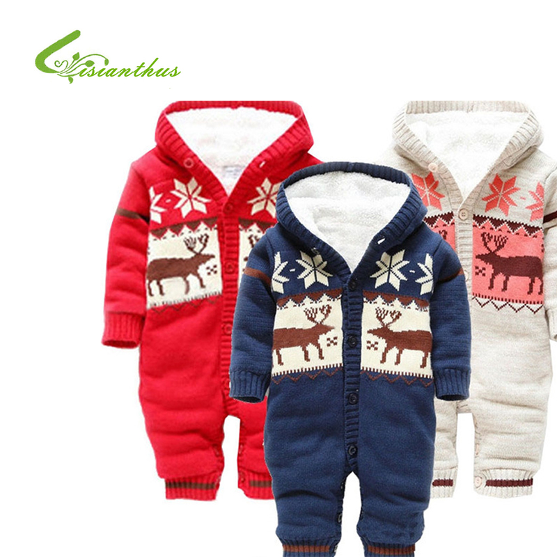 2018 Cotton-padded Baby's Romper Christmas elk Boy/ Girl Jumpsuit Winter Infant Jacquard Body Suit Free Shipping Christmas Gift in the winter of 2016 new products on the market loose big yards thickened cotton linen jacquard women cotton padded clothes