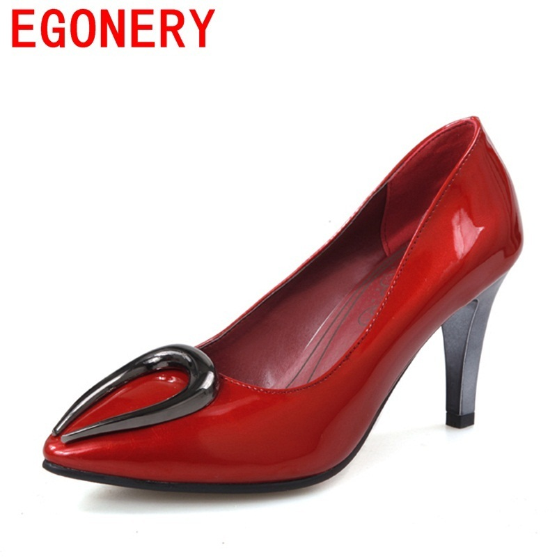 egonery women fashion pumps ladies pointed toe spring new style sexy wedding shoes red white 4 color woman plus size high heels egonery buckle strap faux leather thick high heels fashion style ladies party shoes women s shoe plus size woman pumps