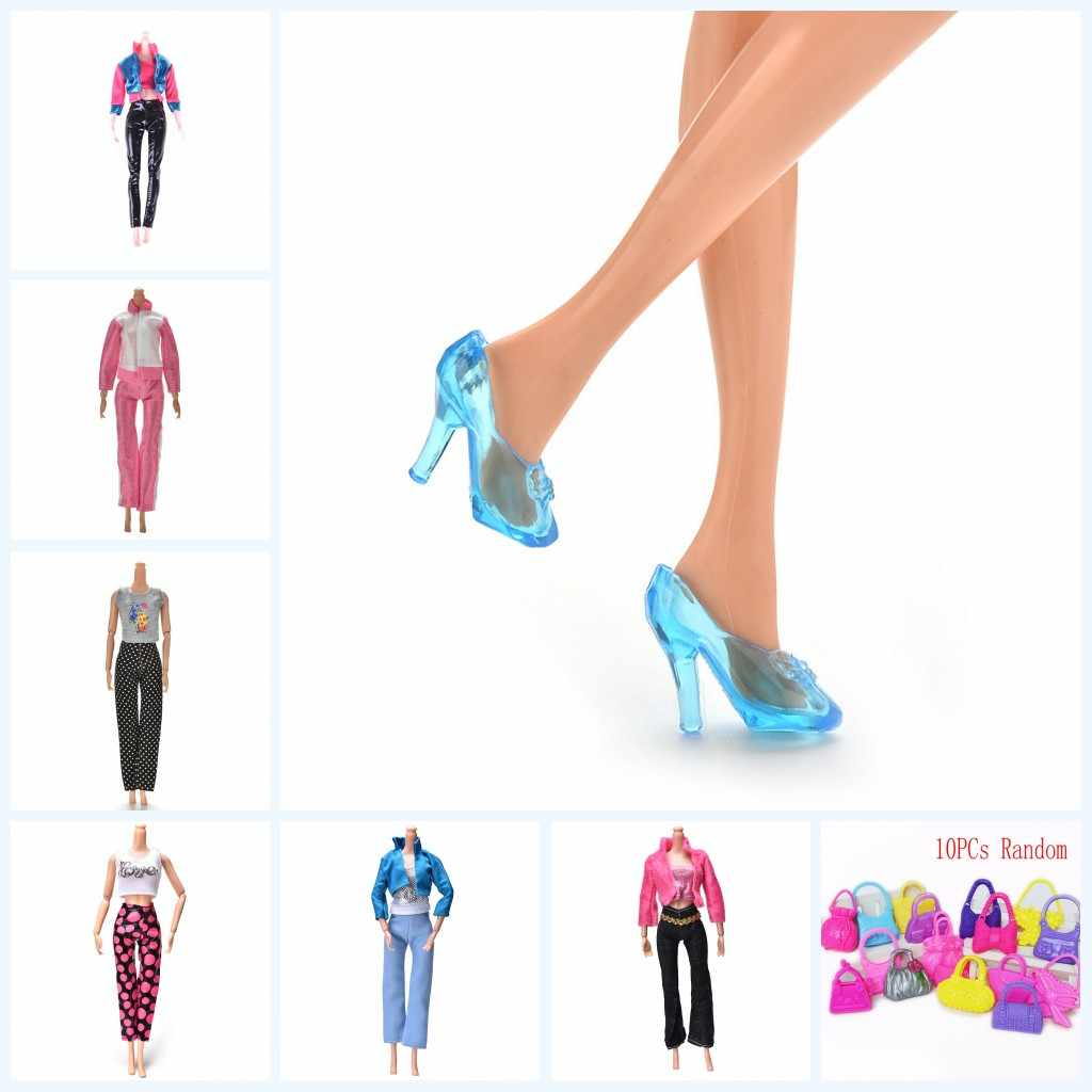 2019 New 1 Set Tops Pants Skirt For Doll Crystal Shoes Various Bags For 11 Inch Dolls Gift For Girls Pretend Toy For Kids