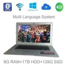 2017 14 дюймов windows 7/8/10 система multi язык ноутбук PC 2.0 ГГц 8 Г озу 1 ТБ HDD и 128 Г SSD встроенная камера для скидки