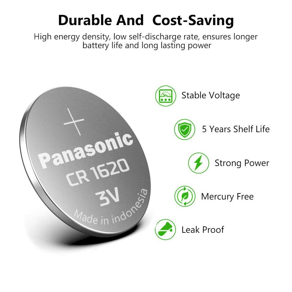 PANASONIC 100 pièces 3 V CR1620 LM1620 DL1620 ECR1620 5009LC pile bouton pile bouton pour LED lumières jouets montres - 3