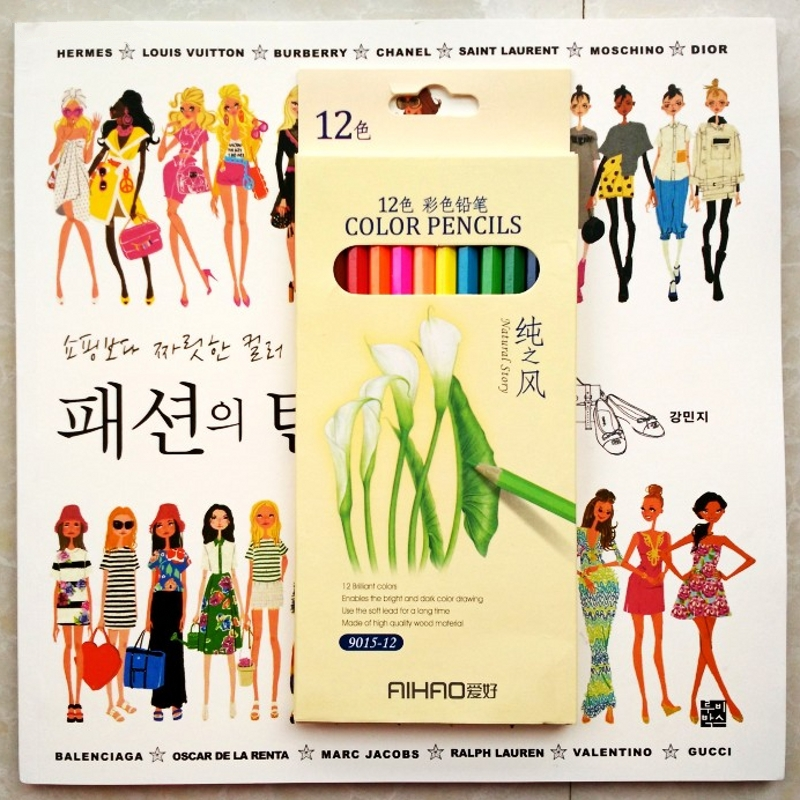 2018 Fashion Coloring Book Stylish Birth Girls 12 Pencils For Adults
