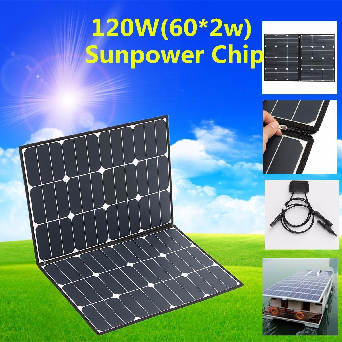 SP-21 Folding Zipper 120W 18V Semi Flexible Solar Panel Waterproof High Conversion Efficiency + One-to-two MC4 connector