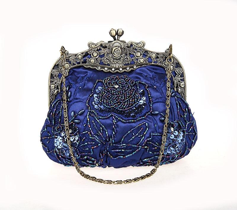 Navy Blue Ladies  Beaded Sequined Wedding Evening Bag Clutch handbag Bride  Party Makeup Bag Purse 54c0088e19cc