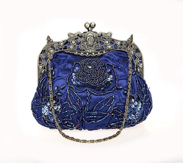 Navy Blue Las Beaded Sequined Wedding Evening Bag Clutch Handbag Bride Party Makeup Purse