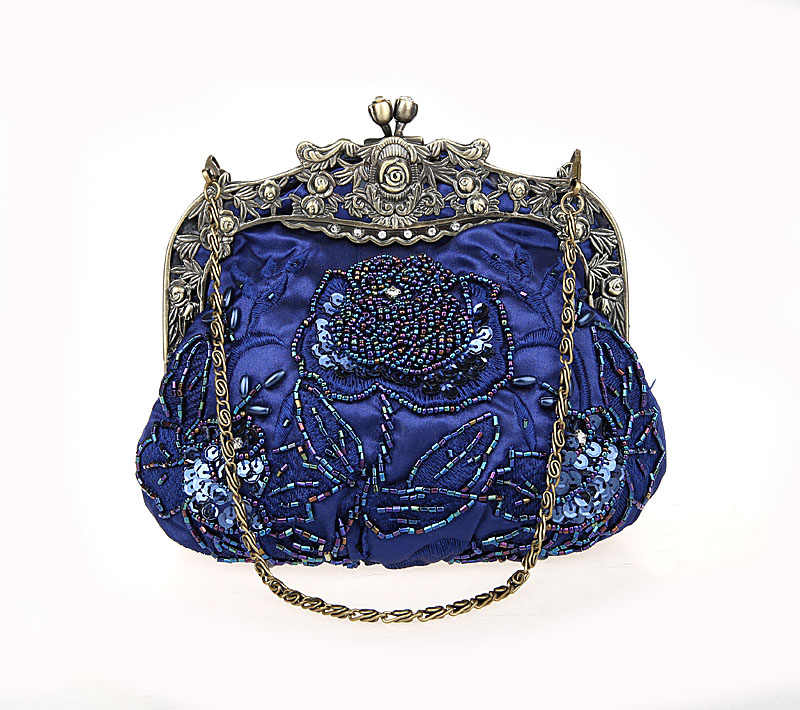 cf6a365487 Navy Blue Ladies' Beaded Sequined Wedding Evening Bag Clutch handbag Bride  Party Makeup Bag Purse