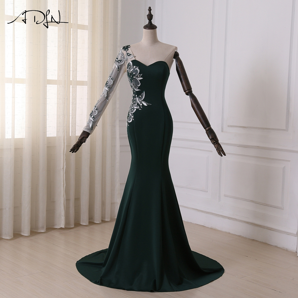 Adln Dark Green Mermaid Evening Dress Sweetheart Long Sleeves Applique Stones Formal Dress Party Prom Dress