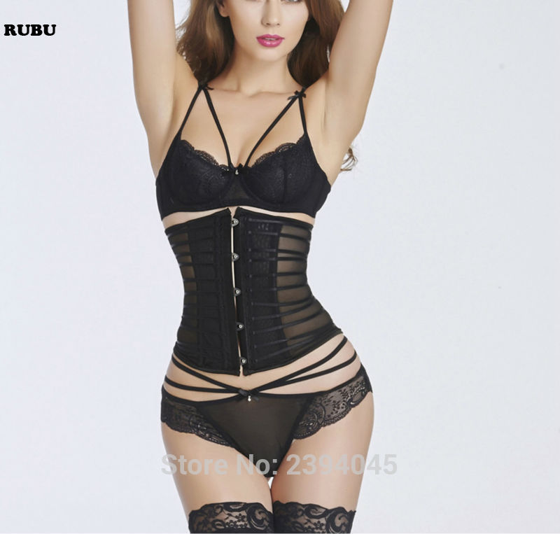 Body Shaper Woman Sexy Waist Control underbust   Corsets   &   Bustiers   Black Hollow out Bone   corset   Waist Cincher Corselet