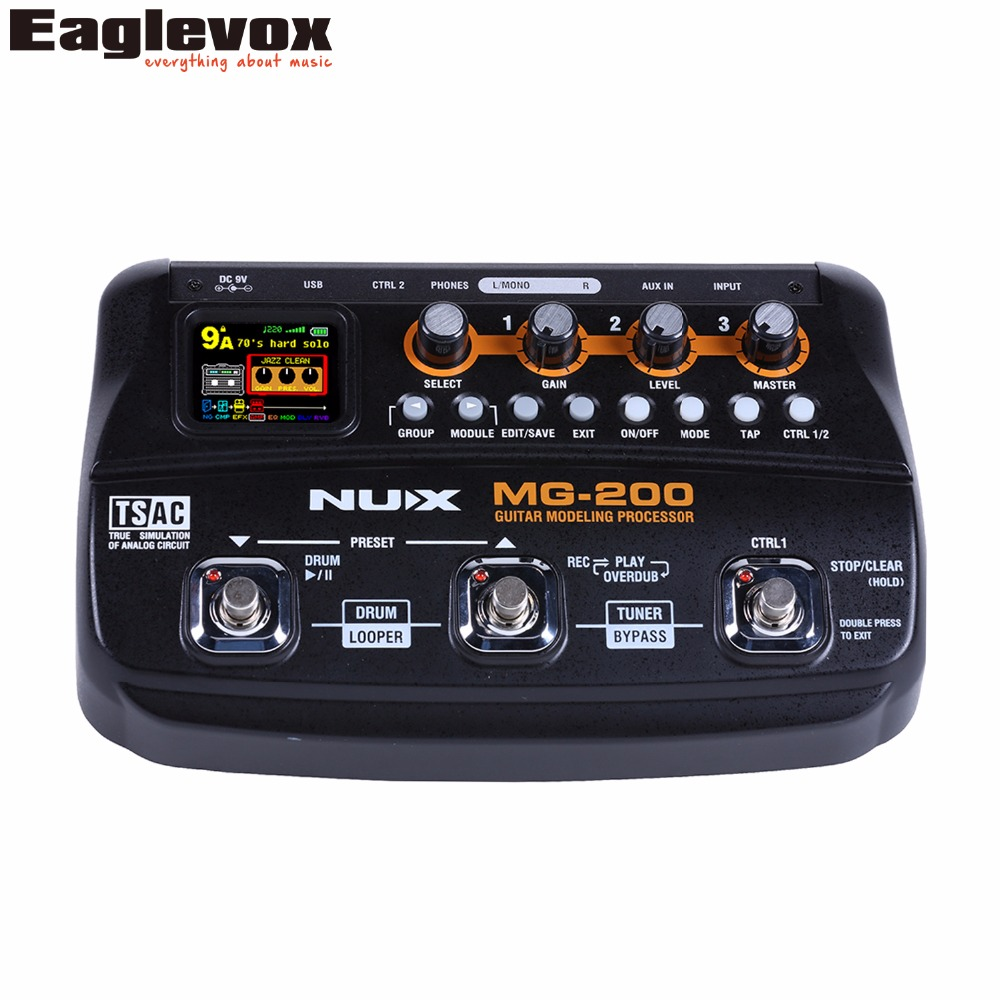 NUX MG-200 Guitar Modeling Processor Multi Guitar Effect Pedal with 55 Effect Models MG 200 nux mg 20 electric guitar multi effects pedal guitarra modeling processor with drum machine eu plug