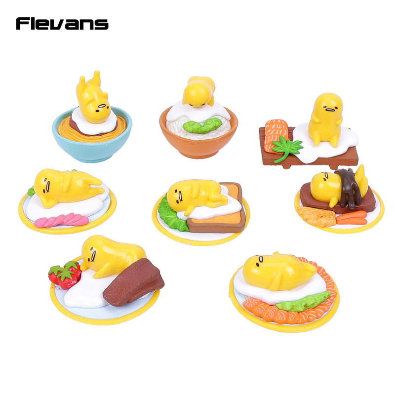 Cute Lovely Gudetama Yellow Lazy Egg Mini PVC Figures Toys Kids Toys Christmas & Birthday Gift 8pcs/set lps toy pet shop cute animals cats giraffe kids action figures pvc lps toys for children birthday christmas gift 8pcs set
